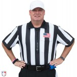 "Smitty 2 1/4"" Stripe Body Flex Short Sleeve Football Referee Shirt with CHEST USA FLAG"