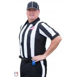 "Smitty 2 1/4"" Stripe Short Sleeve Football Referee Shirt with CHEST USA FLAG"
