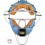 Wilson MLB Silver Dyna-Lite Aluminum Umpire Mask with Sky Blue and Tan Memory Foam