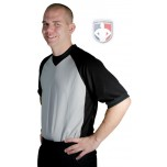 "Smitty Grey V-Neck Referee Shirt with Black Raglan Sleeves and 3"" Side Panel"