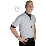 Smitty Solid Grey V-Neck Performance Mesh Referee Shirt with Black Trim
