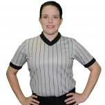 Smitty Women's Grey V-Neck Performance Mesh Referee Shirt with Black Pinstripes