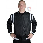 Collegiate Style Basketball Referee Jacket - Black with White Trim