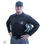 Alternate LONG SLEEVE MiLB Smitty Umpire Shirt - Black with White Vertical Stripe