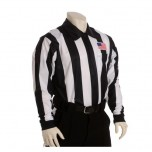 "Smitty 2 1/4"" Stripe Long Sleeve Football Referee Shirt with Chest USA Flag  - California, Colorado and Minnesota HS Approved"