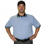 Major League Style Pro Knit Mesh Umpire Shirt - Polo Blue with Black Collar