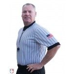 Smitty Dye Sublimated Grey V-Neck Referee Shirt with Black Pinstripes and USA FLAG