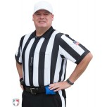 "Smitty 2 1/4"" Stripe Body Flex Short Sleeve Football Referee Shirt with SLEEVE USA FLAG"