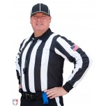 "Smitty 2 1/4"" Stripe Long Sleeve Football Referee Shirt with SLEEVE USA FLAG"