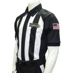 "Smitty 2 1/4"" Stripe Short Sleeve Football Referee Shirt With Sleeve USA Flag - Louisiana HS Approved"