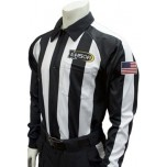 "Smitty 2 1/4"" Stripe Long Sleeve Football Referee Shirt With Sleeve USA Flag - Louisiana HS Approved"