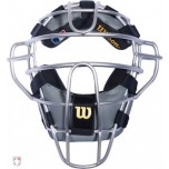 Wilson MLB Silver Dyna-Lite Aluminum Umpire Mask with Black and Grey Wrap Around