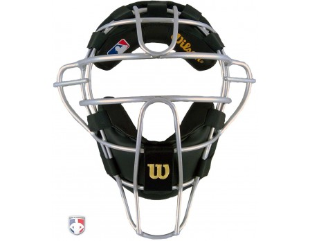 A3009-AL-SV-BK Wilson Dyna-Lite Silver Aluminum Umpire Mask with Black Wrap-Around Pads