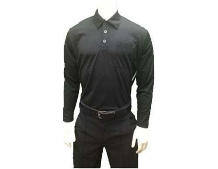 Smitty Major League Style Long Sleeve Self-Collared Umpire Shirt-Black