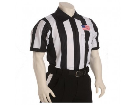"Smitty 2 1/4"" Stripe Short Sleeve Football Referee Shirt with Chest USA Flag  - California, Colorado and Minnesota HS Approved"