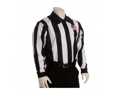 "Smitty 2 1/4"" Stripe Fleece-Lined Cold Weather Football Referee Shirt with Chest USA Flag - California, Colorado and Minnesota HS Approved"