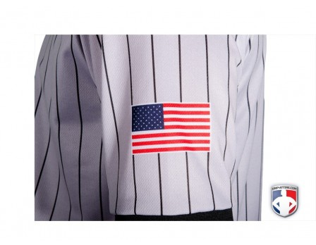Smitty Dye Sublimated Grey V-Neck Referee Shirt with Black Pinstripes