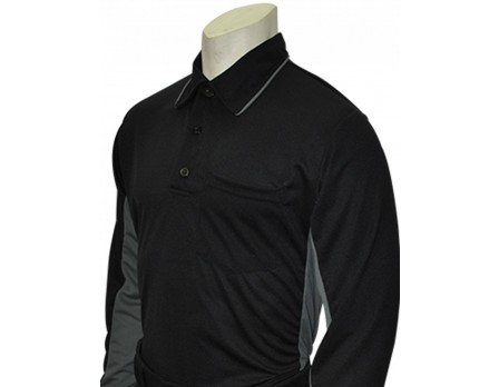 Smitty MLB Replica Long Sleeve Umpire Shirt - Black with Charcoal Grey