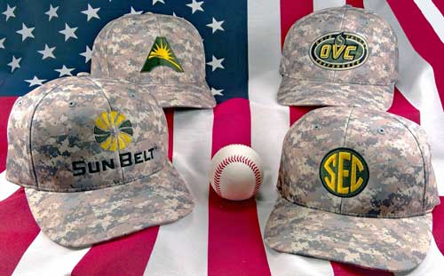 NCAA Camo Umpire Caps with USA Flag Background
