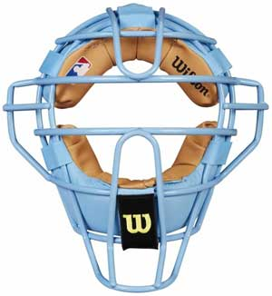 Wilson MLB Sky Blue Dyna-Lite Steel Umpire Mask with Sky Blue and Tan