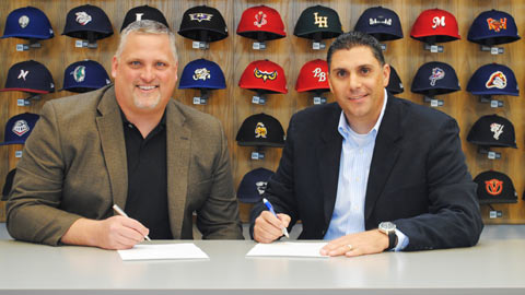 Jim Kirk and Justin Klemm sign deal at MiLB Office