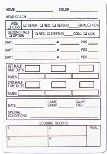 Football Referee Information Cards