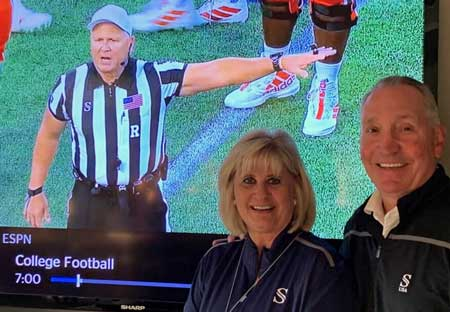 Joe & Patti DeRosa in front of ESPN Football Game