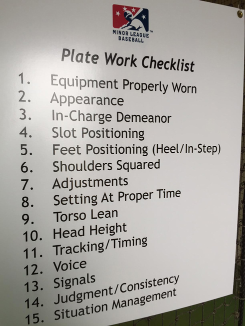 Umpire Plate Work Checklist