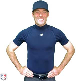 New Balance Challenger Short Sleeve Mock Neck Compression Shirt - Navy
