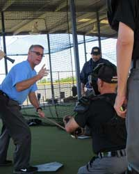 MLB UMPIRES ALFONZO MARQUEZ AND TED BARRETT AND THE UTI INSTRUCTORS The UTI was founded by College World Series Umpires Travis Katzenmier and Steve Mattingly and Junior College World Series Umpire Jason Rogers. They retain a highly qualified staff with MLB, MiLB and NCAA expeience.   CWS UMPIRE STEVE MATTINGLY GIVES INSTRUCTION
