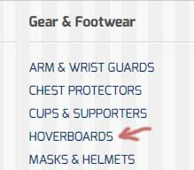 Gear and Footwear Screenshot with Hoverboards Link