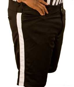 Smitty Black Football Referee Shorts with White Stripe